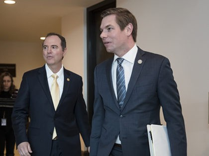 Rep. Adam Schiff, D-Calif., left, and Rep. Eric Swalwell, D-Calif., members of the House Permanent Select Committee on Intelligence, arrive to interview former Trump campaign manager Corey Lewandowski, at the Capitol in Washington, Thursday, March 8, 2018. (AP Photo/J. Scott Applewhite)