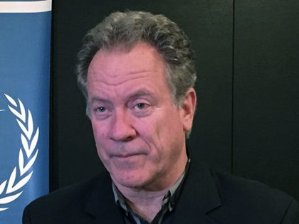 FILE - In this Sunday, May 21, 2017 file photo, David Beasley, the new executive director of the World Food Programme, speaks to The Associated Press, in Amman, Jordan. The data technology that underpins virtual currencies like bitcoin is now also used to deliver aid more efficiently by dramatically lowering …