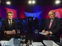 U.S. Rep. Joe Kennedy III, D-Mass, left, and Sen. Ed Markey, right, square off in the first senate primary debate hosted by WGBH News on Tuesday, Feb. 18, 2020 at the WGBH Studios in Boston. (Meredith Nierman/WGBH via AP, Pool)