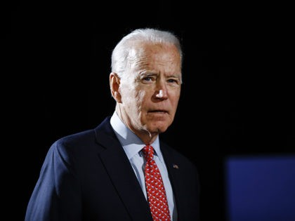 Democratic presidential candidate former Vice President Joe Biden arrives to speak about the coronavirus Thursday, March 12, 2020, in Wilmington, Del. (AP Photo/Matt Rourke)