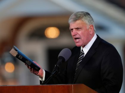 FILE - In this March 2, 2018 file photo, Pastor Franklin Graham speaks during a funeral service at the Billy Graham Library for the Rev. Billy Graham, who died last week at age 99 in Charlotte, N.C. Graham has denounced the impeachment investigation of President Donald Trump, but this week …