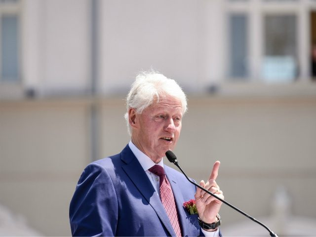 Former U.S President Bill Clinton gestures as he speaks during a ceremony in Pristina, on June 12, 2019, marking the 20th anniversary since the NATO intervention ended Kosovo war with Serbia and cleared a path for independence. - June 12, 1999, the day when NATO entered Kosovo after a three-month …