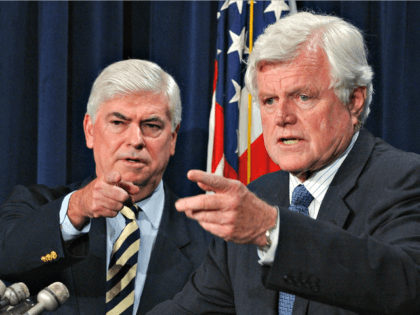 Sen. Edward Kennedy, D-Mass., and Sen. Christopher Dodd, D-Conn., left, talk with reporters during a news conference on Capitol Hill in this July 1, 2005 file photo. Democratic presidential contenders flocked to Sen. Edward Kennedy's 75th birthday party earlier this year. The shower of personal attention underscored Kennedy's star power …