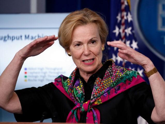 Dr. Deborah Birx, White House coronavirus response coordinator, speaks about the coronavirus in the James Brady Press Briefing Room of the White House, Monday, April 20, 2020, in Washington. (AP Photo/Alex Brandon)
