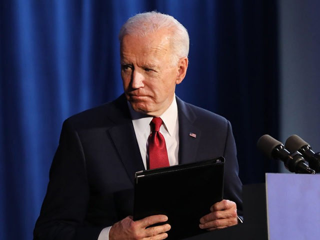 NEW YORK, NEW YORK - JANUARY 07: Presidential candidate Joe Biden exits after delivering remarks on the Trump administrations recent actions in Iran and Iraq on January 07, 2020 in New York City. Biden criticized Trump for not having a clear policy with Iran after recent developments have ratcheted up …
