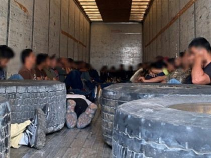 Laredo North Station Border Patrol agents apprehend 54 illegal aliens, including two juveniles, locked in a tractor-trailer in South Texas. (Photo: U.S. Border Patrol/Laredo Sector)