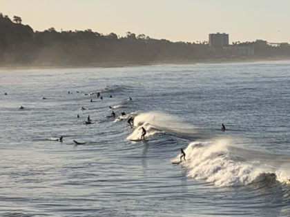 Los Angeles surfers (Joel Pollak / Breitbart News)