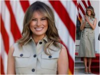 First Lady Melania Trump emerged from the White House for …