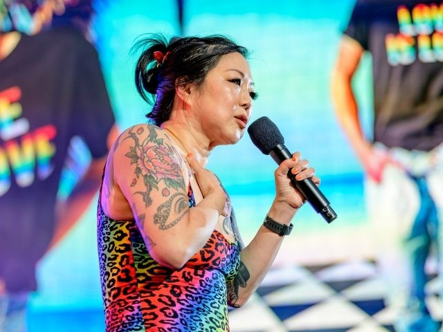 NEW YORK, NEW YORK - JUNE 30: Comedian Margaret Cho hosts the Closing Ceremony of WorldPride NYC 2019 at Times Square on June 30, 2019 in New York City. (Photo by Roy Rochlin/Getty Images)