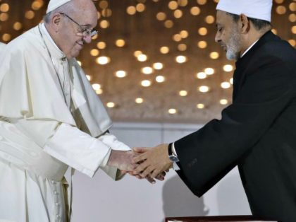 Pope Francis greets Sheikh Ahmed el-Tayeb, the grand imam of Egypt's Al-Azhar, after an Interreligious meeting at the Founder's Memorial in Abu Dhabi, United Arab Emirates, Monday, Feb. 4, 2019. Pope Francis has asserted in the first-ever papal visit to the Arabian Peninsula that religious leaders have a duty to …
