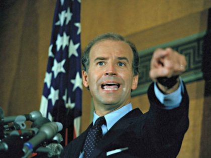 Sen. Joe Biden (D-Del.) gestures at a news conference on Capitol Hill, Sept. 17, 1987. Biden, a Democratic presidential hopeful, admitted that he committed plagiarism in his first year in law school, but decried the current controversy over his failure to credit others for parts of his campaign speech as …