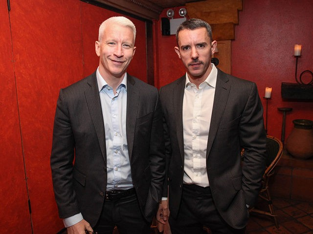 NEW YORK, NY - NOVEMBER 08: (EXCLUSIVE COVERAGE) Anderson Cooper (L) and Benjamin Maisani attend Kathy Griffin's Carnegie Hall Performance official after party hosted by Anderson Cooper at Trattoria Dell Arte Restaurant on November 8, 2013 in New York City. (Photo by Rob Kim/Getty Images)