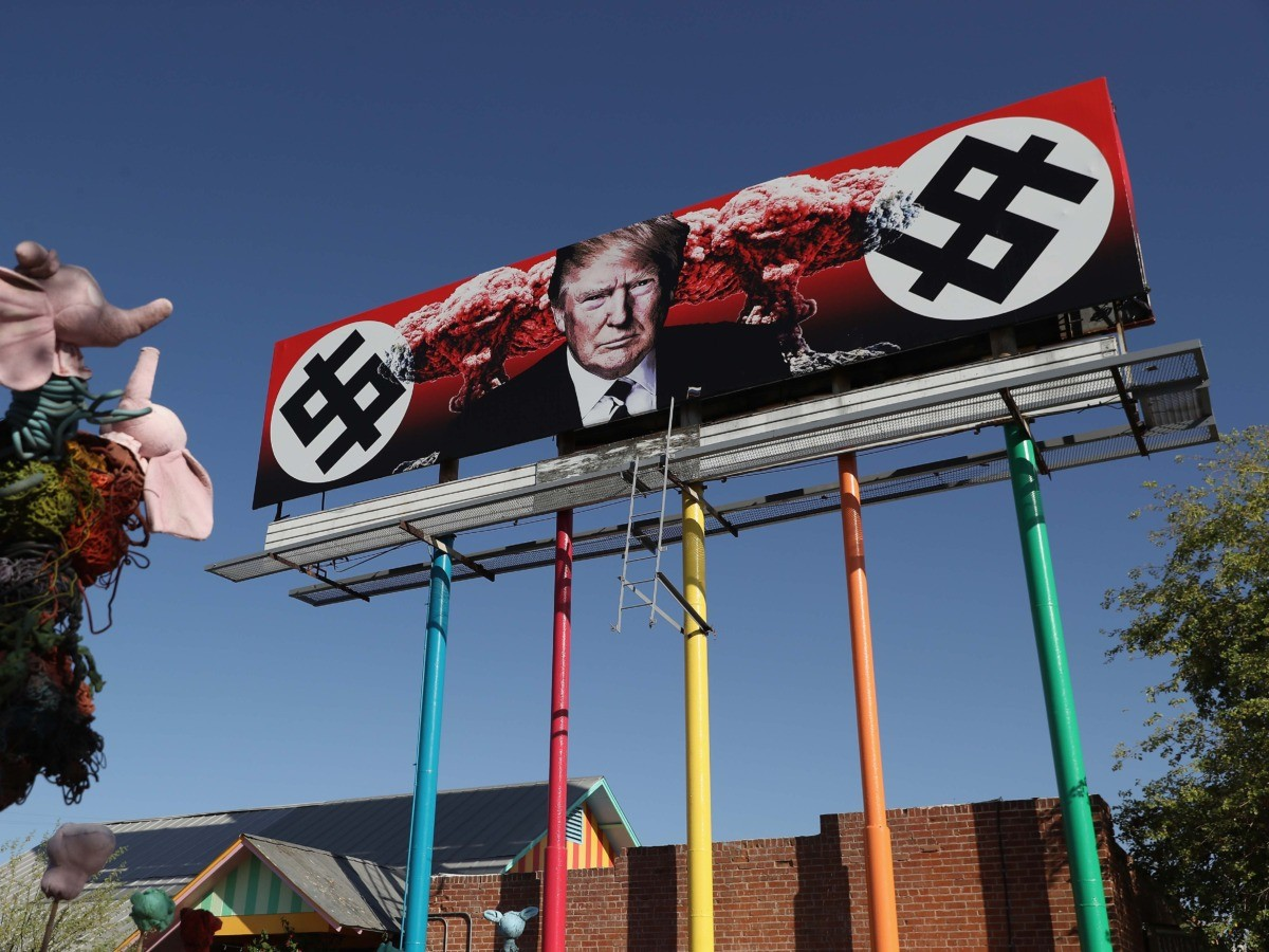 anti-Trump swastika billboard (Christian Petersen / Getty)