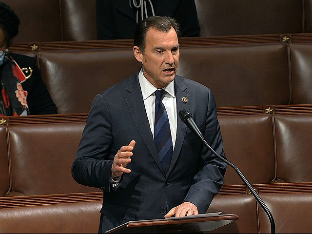 In this image from video, Rep. Tom Suozzi, D-N.Y., speaks on the floor of the House of Representatives at the U.S. Capitol in Washington, Thursday, April 23, 2020. (House Television via AP)