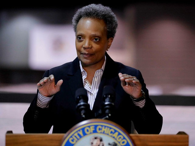 Chicago Mayor Lori Lightfoot speaks during a news conference in Hall A at the COVID-19 alternate site at McCormick Place in Chicago, Friday, April 10, 2020. (AP Photo/Nam Y. Huh)