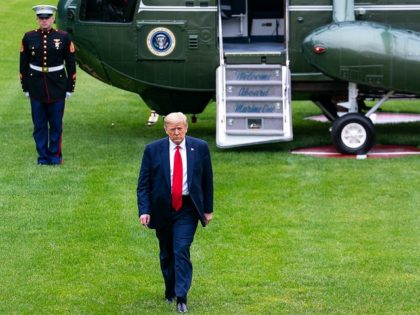 President Donald J. Trump disembarks Marine One Sunday, May 17, 2020, on the South Lawn of the White House, returning from his working weekend at Camp David near Thurmont, Md. (Official White House Photo by Tia Dufour)