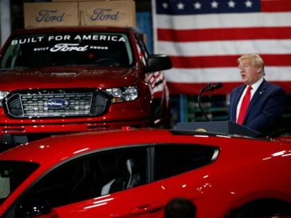 President Donald Trump speaks at Ford's Rawsonville Components Plant that has been converted to making personal protection and medical equipment, Thursday, May 21, 2020, in Ypsilanti, Mich. (AP Photo/Alex Brandon)