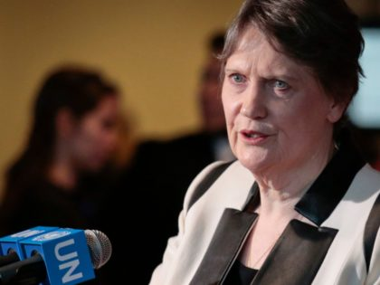 Former New Zealand Prime Minister Helen Clark, who heads the U.N. Development Program, speaks at a news conference after she addressed U.N. General Assembly members about her candidacy for U.N. Secretary General, Thursday April 14, 2016 at U.N. headquarters. The United Nations is taking a historic step to open up …