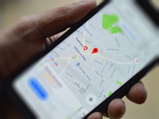A Google map search on a smart phone.
