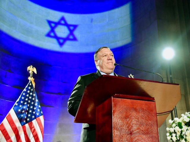 U.S. Secretary of State Michael R. Pompeo delivers the keynote address at the Celebration of Israel's 71st Independence Day, at the Andrew W. Mellon Auditorium in Washington, D.C., on May 22, 2019. [State Department photo by Michael Gross/ Public Domain]
