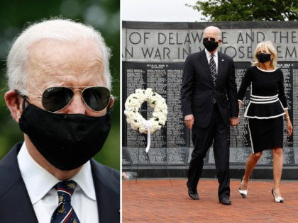Democratic presidential candidate, former Vice President Joe Biden and Jill Biden, after laying a wreath at the Delaware Memorial Bridge Veterans Memorial Park, Monday, May 25, 2020, in New Castle, Del. (AP Photo/Patrick Semansky)