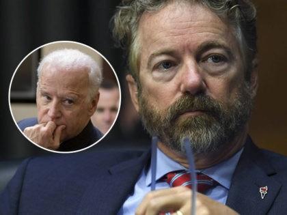 (INSET: Joe Biden) Sen. Rand Paul, R-Ky., listens during a virtual Senate Committee for Health, Education, Labor, and Pensions hearing, Tuesday, May 12, 2020 on Capitol Hill in Washington. (Toni L. Sandys/The Washington Post via AP, Pool)