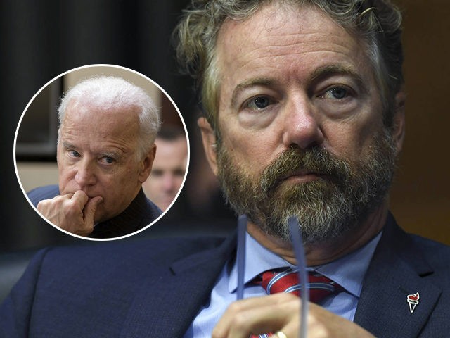 (INSET: Joe Biden) Sen. Rand Paul, R-Ky., listens during a virtual Senate Committee for Health, Education, Labor, and Pensions hearing, Tuesday, May 12, 2020 on Capitol Hill in Washington. (Toni L. Sandys/The Washington Post via AP, Pool)