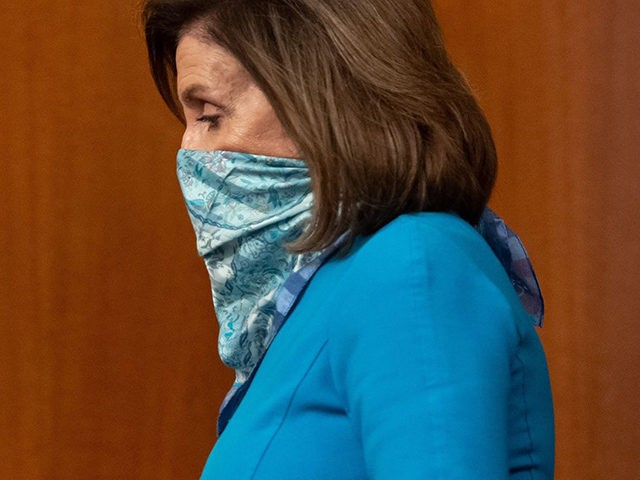 US Speaker of the House Nancy Pelosi arrives to speaks about the coronavirus pandemic during her weekly press conference at the US Capitol in Washington, DC, May 7, 2020.