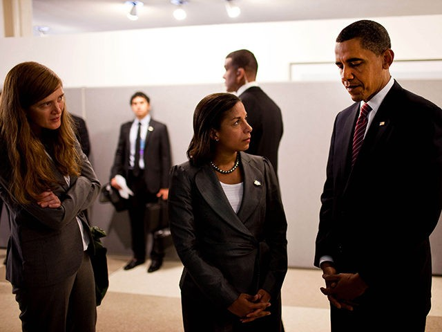President Barack Obama confers with Samantha Power, left, Senior Director for Multilateral Affairs, and Susan E. Rice, U.S. Permanent Representative to the United Nations, before they attended a wreath laying ceremony at the memorial for United Nations staff killed in Iraq at the U.N. Headquarters in New York, N.Y., on …
