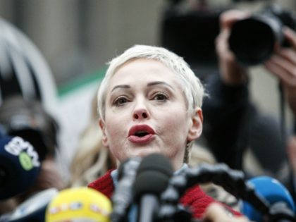 NEW YORK, NY - JANUARY 06: Actress Rose McGowan speaks to the media outside the court on January 6, 2020 in New York City. Weinstein, a movie producer whose alleged sexual misconduct helped spark the #MeToo movement, pleaded not-guilty on five counts of rape and sexual assault against two unnamed …