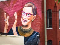 Ruth Bader Ginsburg mural on U Street NW, Washington, DC USA - Artist Rose Jaffe IG:Rose_Inks