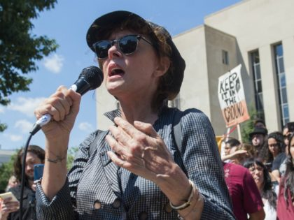 Actress Susan Sarandon speaks during a rally and protest by the Standing Rock Sioux tribe in support of a lawsuit against the Army Corps of Engineers and plans for the Dakota Access Pipeline outside the US District Court in Washington, DC, August 24, 2016. The roughly 1,200-mile-long pipeline would transfer …