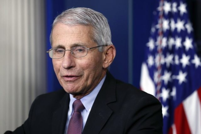In this April 22, 2020, file photo, Dr. Anthony Fauci, director of the National Institute of Allergy and Infectious Diseases, speaks about the new coronavirus in the James Brady Press Briefing Room of the White House, in Washington. A Senate hearing on reopening workplaces and schools safely is turning into …