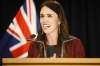 In this Jan. 28, 2020, file photo, New Zealand Prime Minister Jacinda Ardern talks to reporters at Parliament in Wellington, New Zealand. Ardern barely skipped a beat when an earthquake struck during a live television interview Monday morning, May 25. She interrupted Newshub host Ryan Bridge to tell him what …