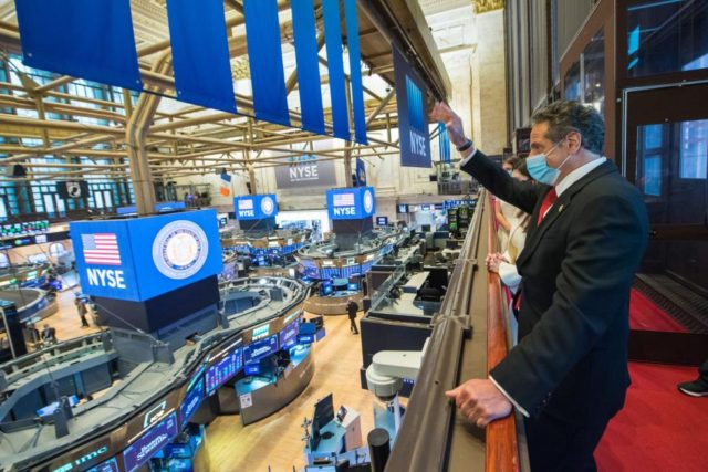 Gov. Cuomo rings opening bell at reopened New York Stock Exchange