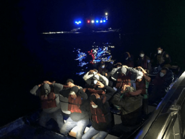 U.S. Customs and Border Protection Air and Marine Operations agents seize a 35-foot panga off the coast of California with 18 Mexican illegal aliens onboard. (Photo: U.S. Customs and Border Protection/Air and Marine Operations)