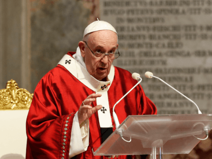 Pope Francis celebrates Mass in St. Peter's Basilica at the Vatican, Sunday, May 31, 2020. Francis celebrates a Pentecost Mass in St. Peter's Basilica on Sunday, albeit without members of the public in attendance. He will then go to his studio window to recite his blessing at noon to the …