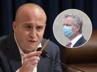 """(INSET: New York City Mayor Bill de Blasio) his Sept. 18, 2019 file photo shows House Subcommittee on Intelligence and Counterterrorism Co-Chairman Rep. Max Rose, D-N.Y. during a hearing on """"meeting the challenge of white nationalist terrorism at home and abroad"""" on Capitol Hill in Washington. Voters will decide whether …"""