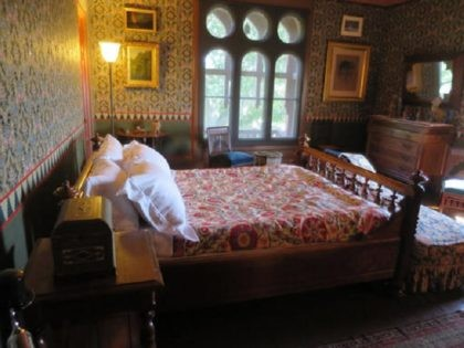 In this Aug. 19, 2016 photo, the master bedroom in the exotic mansion at Olana, the propertywhere artist Frederic Edwin Church and his wife Isabel lived, is seen on a tour of the house in Greenport, N.Y. Autumn is the perfect season to visit Olana, as well as the home …