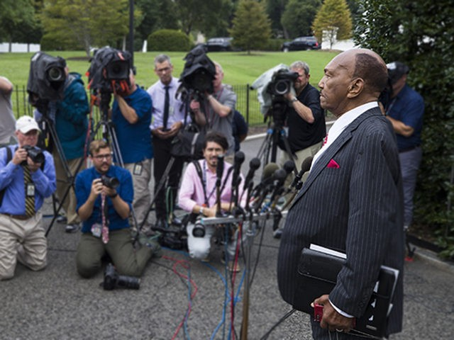 Rev. Bill Owens Sr., speaks with reporters after meeting with President Donald Trump at the White House, Monday, July 29, 2019, in Washington. (AP Photo/Alex Brandon)