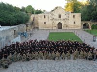 Alamo Rangers, the San Antonio Police Department, Texas DPS Troopers, and the Texas National Guard stand ready to defend the Alamo from protesters. (Photo: Twitter/@GeorgePBush)
