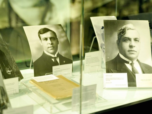 """LOS ANGELES, CA - JANUARY 23: A general view at the opening of """"Visas to Freedom: Aristides de Sousa Mendes and the Refugees of World War II"""" at Los Angeles Museum of the Holocaust in Pan Pacific Park on January 23, 2016 in Los Angeles, California. (Photo by John Sciulli/Getty …"""