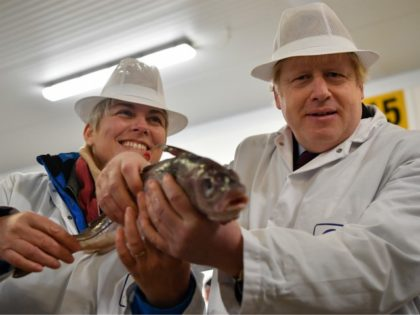 GRIMSBY, UNITED KINGDOM - DECEMBER 09: British Prime Minister and Conservative leader Boris Johnson poses holding a fish with Conservative candidate for Great Grimsby Lia Nici (L) during a general election campagin visit to Grimsby Fish Market on December 9, 2019 in Grimsby, United Kingdom. The U.K will go to …