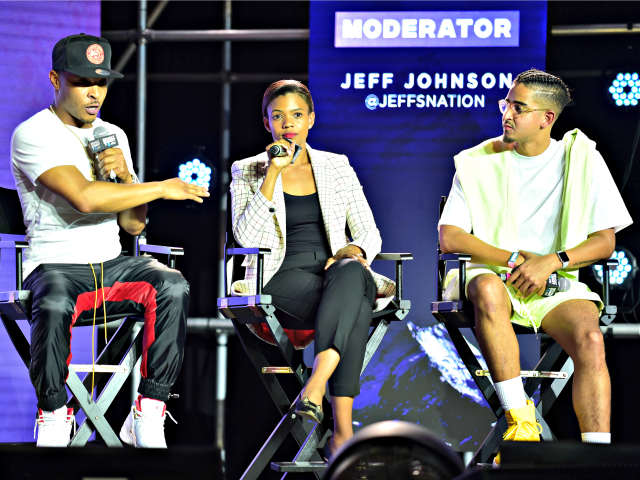 ATLANTA, GEORGIA - SEPTEMBER 14: T.I., Candace Owens, and Steven Pargett speak onstage during day 3 of REVOLT Summit x AT&T Summit on September 14, 2019 in Atlanta, Georgia. (Photo by Moses Robinson/Getty Images for Revolt)