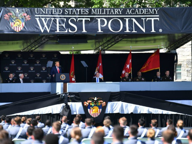 US President Donald Trump delivers the commencement address at the 2020 US Military Academy Graduation Ceremony at West Point, New York, on June 13, 2020. (Photo by Nicholas Kamm / AFP) (Photo by NICHOLAS KAMM/AFP via Getty Images)