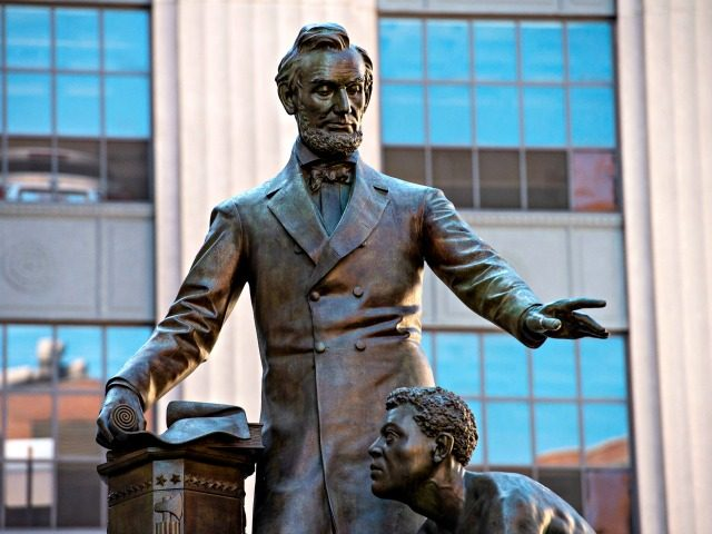 The Abraham Lincoln Statue, erected in 1879, by Thomas Ball, is viewed in Park Square in Boston, Massachusetts on June 16, 2020. - The statue is the current high topic of controversy with a petition and calls to the mayor to remove it from the park. The statue is a …