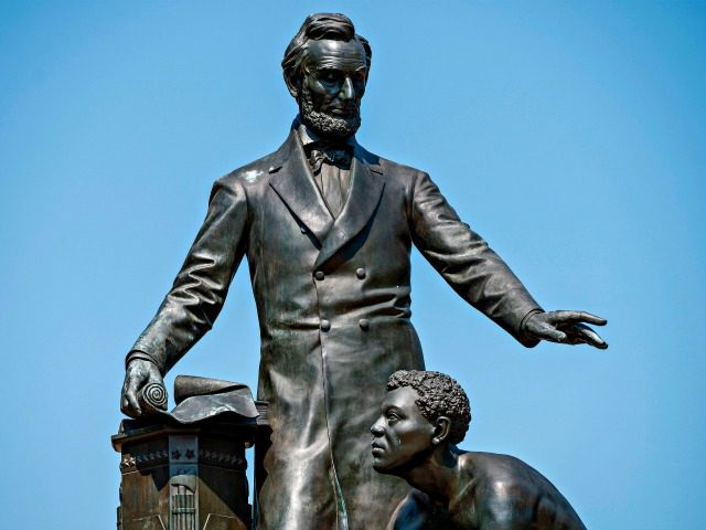 The Lincoln Park 'Emancipation' statue, a statue that is among monuments drawing scrutiny that depicts former US President Abraham Lincoln standing over a kneeling freed Africans American man, is seen in Washington, DC, on June 22, 2020. (Photo by JIM WATSON / AFP) (Photo by JIM WATSON/AFP via Getty Images)