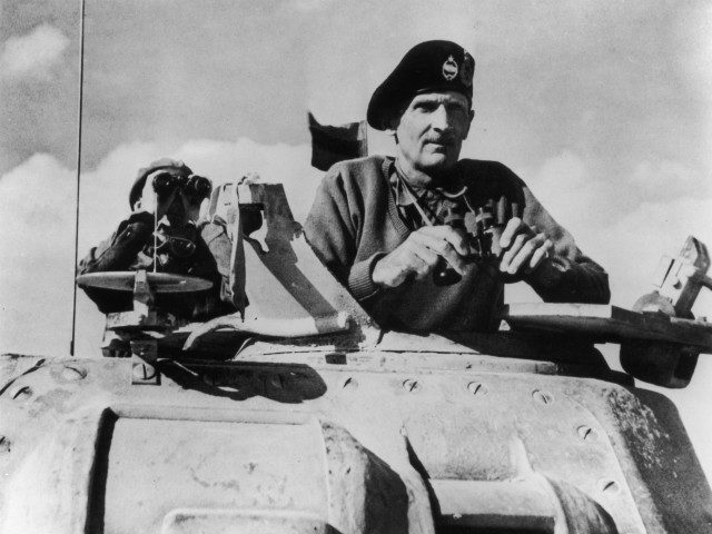 Portrait of Lieutenant General Bernard Montgomery standing looking out of a tank, circa 1940s. (Photo by Fotosearch/Getty Images).