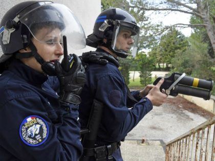 A police cadet from Nimes, holds a Flash-Ball weapon while taking part in a crowd control exercise attended by more than 500 personnel from criminal investigation and police departments and Marseille's naval firefighting units, in Nimes, southern France, on November 5, 2014. AFP PHOTO / PASCAL GUYOT (Photo credit should …