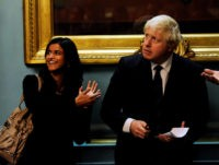 "LONDON, ENGLAND - OCTOBER 18: Director of Policy for Arts, Culture and Creative Industries Munira Mirza and the Mayor of London, Boris Johnson attend the ""Another Year"" pre-gala reception during the 54th BFI London Film Festival at The Institute of Directors on October 18, 2010 in London, England. (Photo by …"